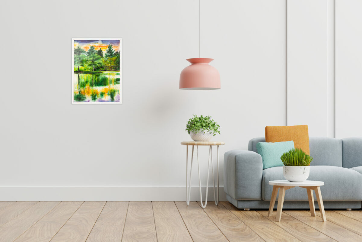 Empty living room with blue sofa, plants and table on empty whit